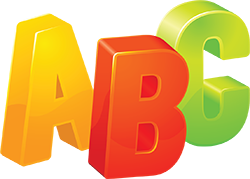 alphabet blocks ABC in colours on transparent background