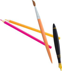 pencils, paintbrush and caligraphy pen on transparent background