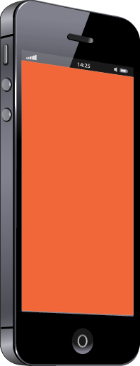 Black mobile phone with orange screen