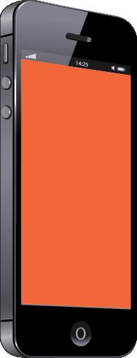Black mobile phone with orange screen